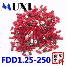 FDD1.25-250 Male Insulated Electrical Crimp Terminal for 0.5-1.5mm2 Connectors Cable Wire Connector 100PCS/Pack Red цена