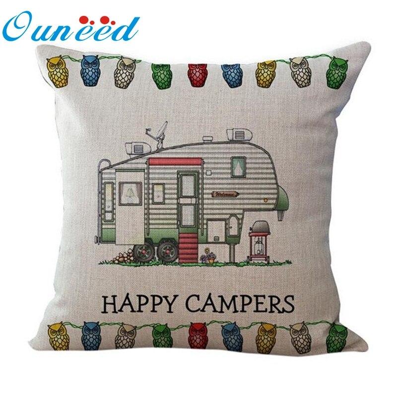 Ouneed Наволочки Happy Campers Cut Bus Home Декоративные Белье Квадратный Бросок Подушки Закрытие Молния 2017 Подарок 1 шт. Падение