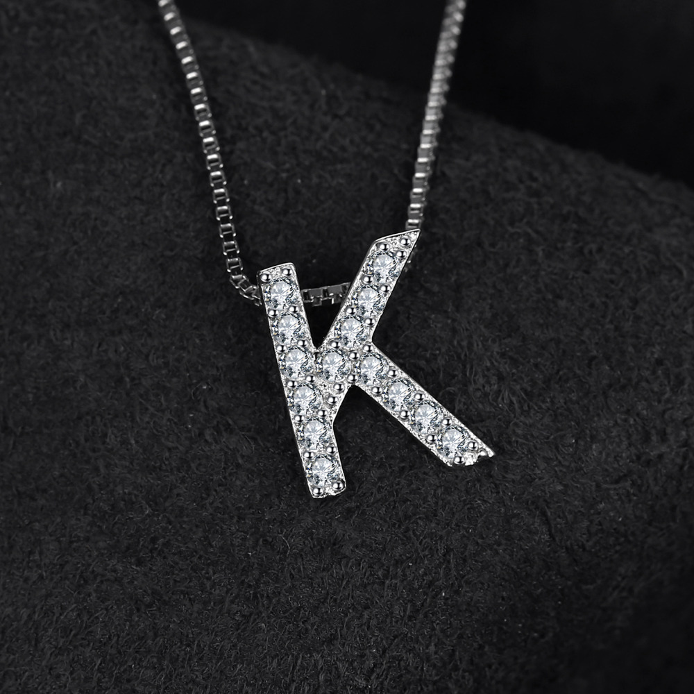 Aliexpress buy jewelrypalace letter k initial 036ct cubic aliexpress buy jewelrypalace letter k initial 036ct cubic zirconia pendant necklace real 925 sterling silver 45cm box chain necklace from reliable aloadofball Choice Image