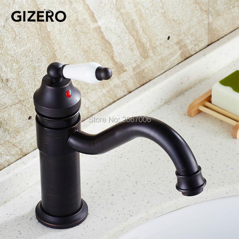 GIZERO Euro Retro Oil Rubbed Bronze Swivel Faucet Ceramic Handle Bathroom Basin Sink Mixer Tap Deck Mounted Water Faucet GI603 все цены