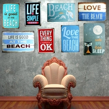 Life is good  at the beach Metal Painting Wall Bar Home Art Decor Cuadros Mix Order 30X20CM A-5631