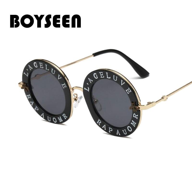 BOYSEEN 2019 rodada óculos de sol das mulheres Letters Little bee sun óculos para homens óculos de marca de metal retro Senhoras do vintage masculino 1828