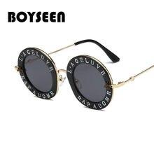 c0f69a1c1d BOYSEEN 2019 round sunglasses women Letters Little bee sun glasses for men  retro metal Ladies vintage brand male 1828