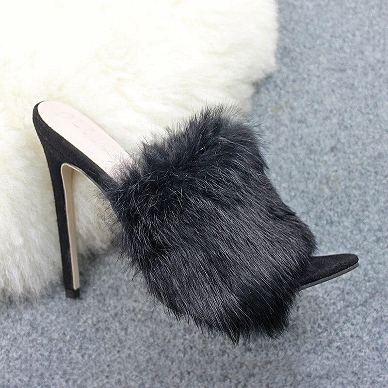 HTB1lbesa0fvK1RjSspoq6zfNpXaF 2019 New European Station Sandals Candy Color Luxury Rabbit Fur Slippers Large Women Shoes Size 35-43 High Heel Sandals