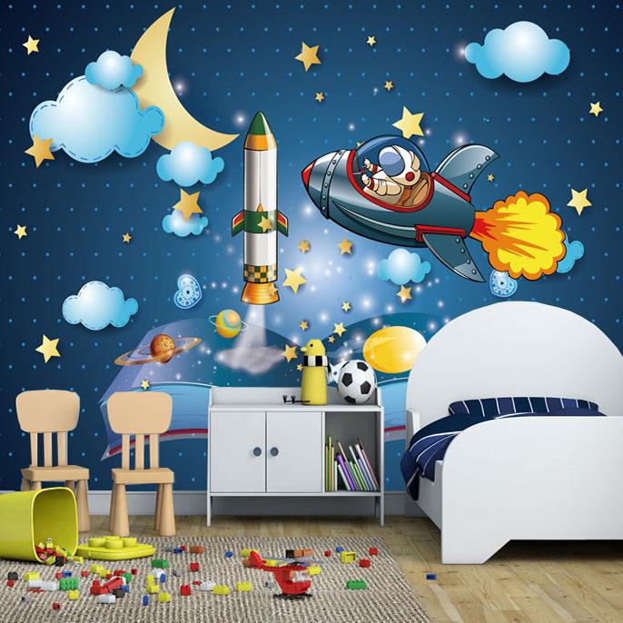 3d Papel Parede Outer Space Universe Airship 3d Cartoon
