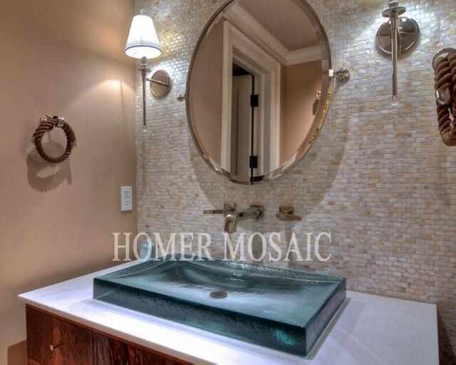 Mosaico natural Madre de la perla mosaico azulejos cocina backsplash ...
