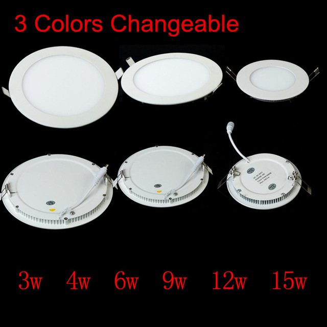 10pcs/lot, DHL Free Shipping 4W 6W 9W 12W 15W 18W 3 COLOR CHANGEABLE LED Downlight Recessed LED Ceiling Panel Light indoor