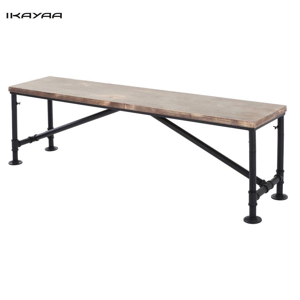 Ikayaa Us Fr Stock Antique Natural Pinewood Top Kitchen Dining Table Bench Metal Frame Patio