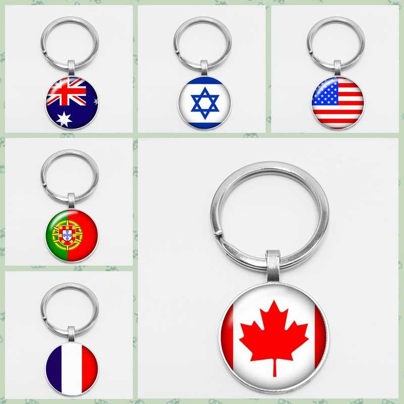 Americas Country Flag Key Chain Canada France USA Argentina Peru Colombia Flag Metal Keychain Travel Country Souvenir Gift