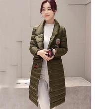 Women Winter Jacket Warm Wadded Coat Size M 2XL Army Green Cotton Inside Down Parka Sleeve