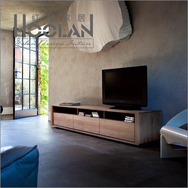 Minimalistische moderne scandinavische ikea tv kast eiken for Houten meubels woonkamer