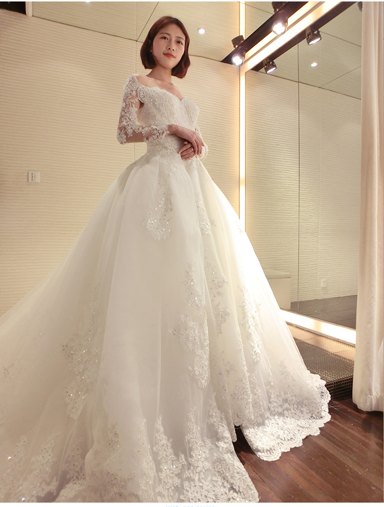 Lace Long Train 150 CM Backless Wedding Dresses Luxury Long Sleeve ...