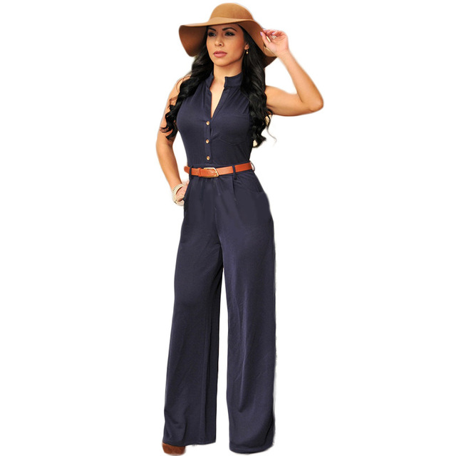 NEW 2016 Hot Fashion Ladies Casual Rompers Jumpsuit Women Sexy deep V-neck Sleeveless Summer Woman Selegant Jumpsuits Plus Size