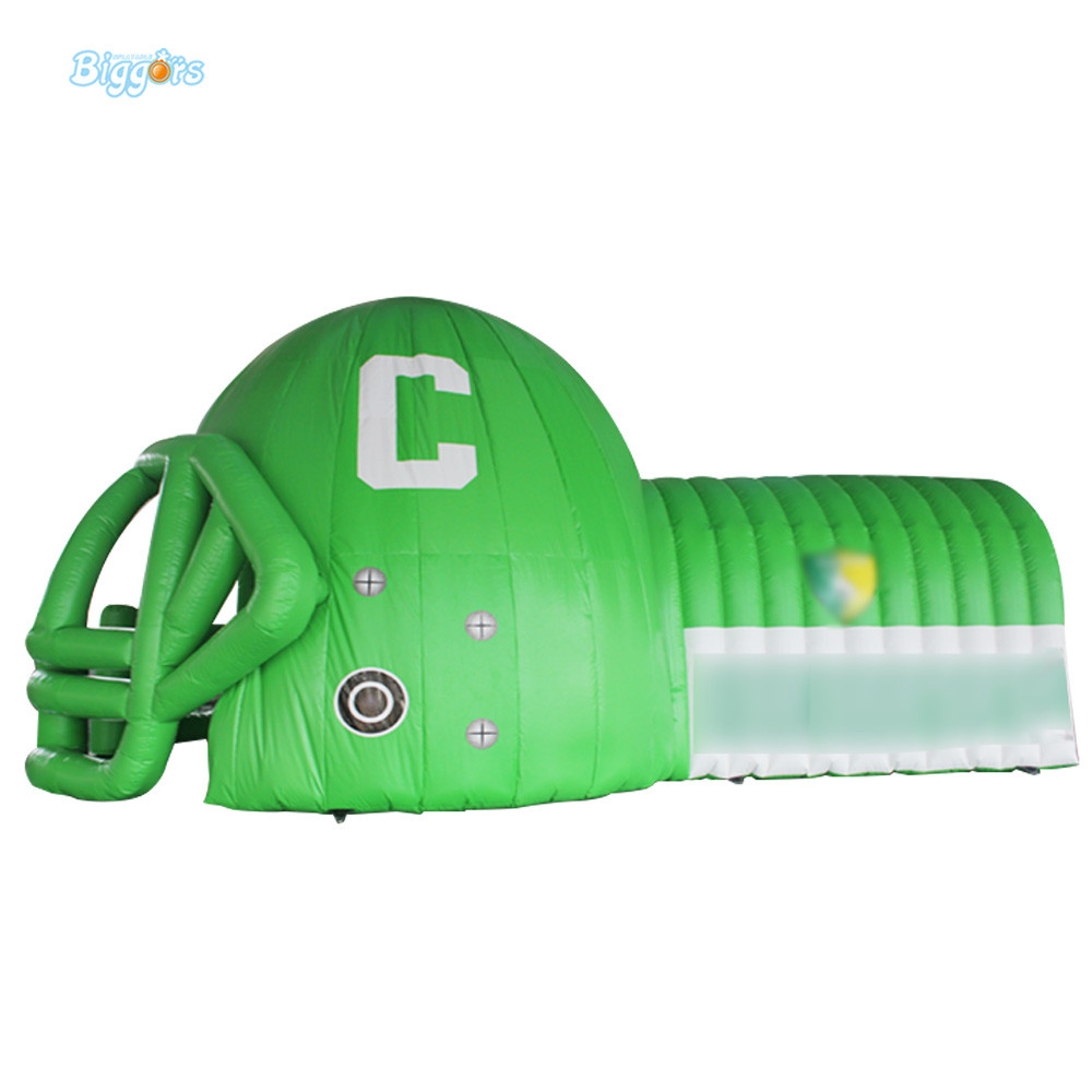 Outdoor sport race inflatable football helmet tunnel with customized logo цена