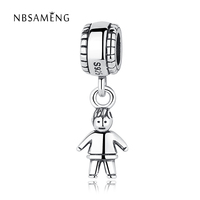 Authentic 925 Sterling Silver Bead Charm Boy Girl Beads Fit Pandora Women Original Bracelet Bangle Necklace