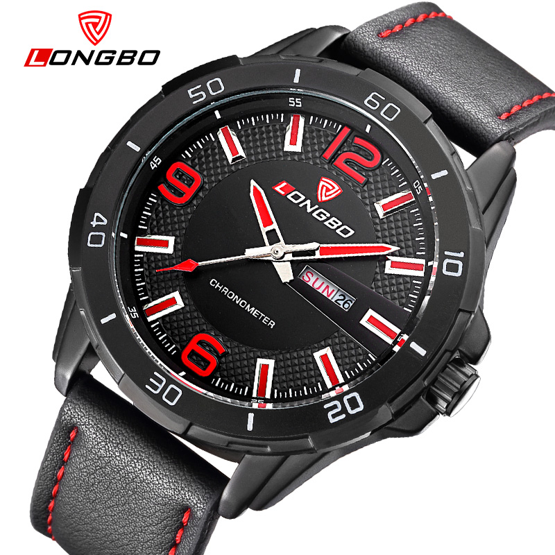 LONGBO Men Luxury Leather Strap Lager Dial Watches Auto Date Waterproof Quartz Wrist Watches,Top Quality Male Sport Watch 80197 longbo men and women stainless steel watches luxury brand quartz wrist watches date business lover couple 30m waterproof watches