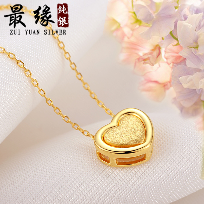 famous brand female Necklace female 925 sterling silver Gold-plated love cute simple double heart shape pendant girlfriend gift