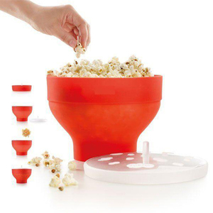 New FDA Silicone Red Popcorn bowl Home Microwaveable Pop Corn Maker Bowl Microwave Safe Popcorn Bakingwares Bucket DropShipping(China)