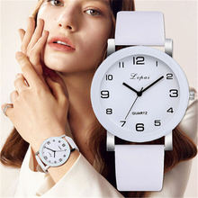 LVPAI Woman's Watch Fashion Simple White Quartz Wristwatches Sport Leather Band