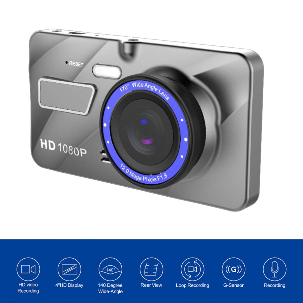 A10 Full HD 1080P Dual Lens Vehicle Black Car DVR 4 Inch 170 Degree View Wide Angle Loop Recording Motion Detection Top Sale