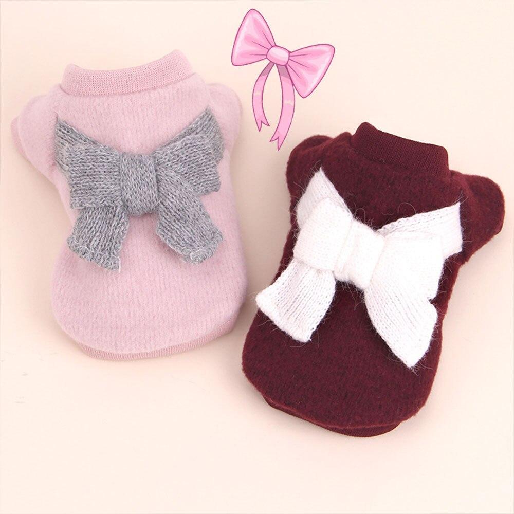 Вязаный свитер костюм свитер для кота с бантом 3 цвета пальто щенок Милая Одежда для собак ropa para perro