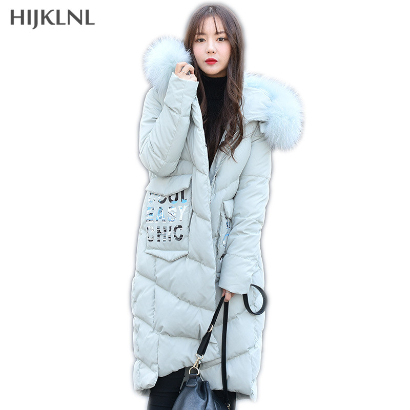 HIJKLNL Women's   Down     Coat   2019 New Winter Big Raccoon Fur Hooded Back Printed Letters Long Duck   Down   Jacket Women   Coat   LH1260
