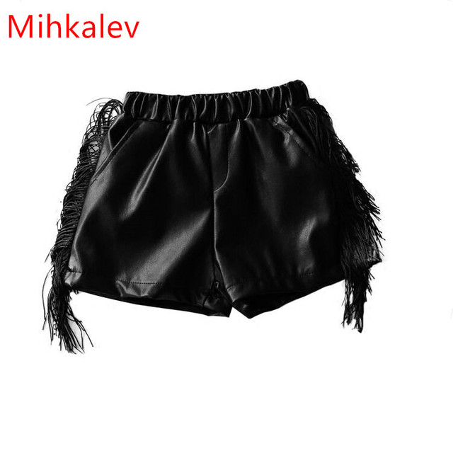 f38d834c31 Mihkalev Fashion 2017 autumn baby girls shorts for 2years Black color kids leather  pants children leisure trousers girl costume