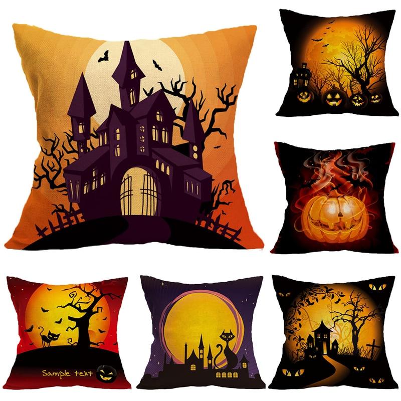 Halloween Square Throw Pillowcase Party Supplies Scary Ghost Pumpkin Linen Cotton Sofa Cushion Cover Pillow Cover for Home Decos