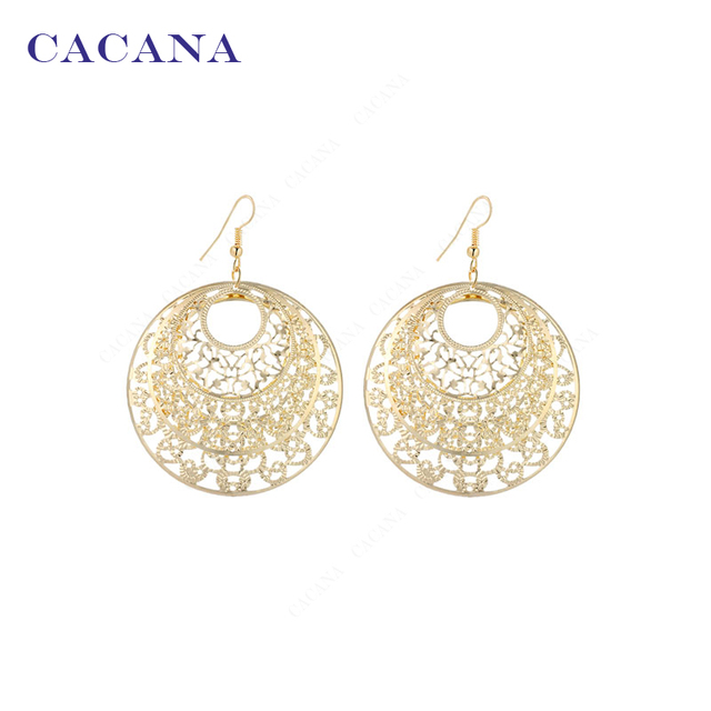CACANA Earrings  Dangle Long Earrings For Women Big Hollow Round Lovely Pattern Bijouterie Hot Sale No.A818
