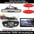 Opinión posterior del coche de copia de seguridad aparcamiento cámara CCD HD + 4.3 pulgadas de coches espejo del monitor de TFT LCD para Honda Accord Piloto Cívico Odyssey Acura TSX