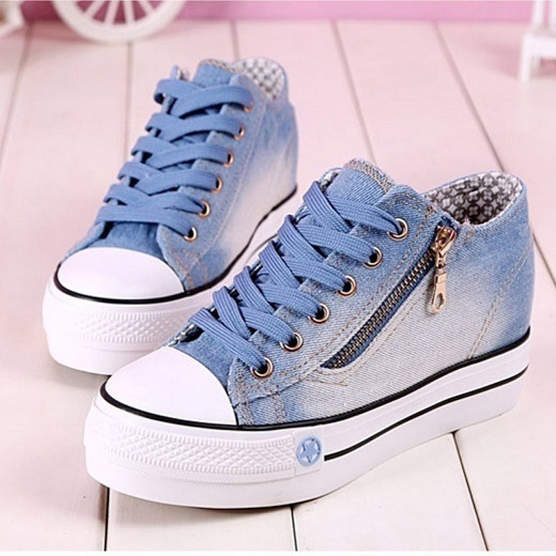 Side zipper denim women's casual shoes plus size women shoes autumn  woman shoe(China)
