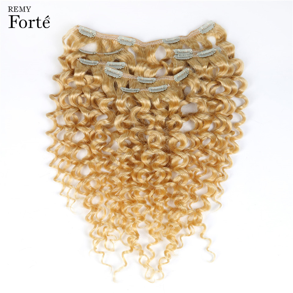 Remy Forte Clip In Human Hair Extensions 613 Blonde Human Hair 7 Pcs 115g Clip-In Full Head Kinky Curly Clip Ins Hair Clip