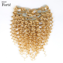 Remy Forte Clip In Human Hair Extensions 613 Blonde Human Hair 7 Pcs 115g Clip-In Full Head Kinky Curly Clip Ins Hair Clip 115g