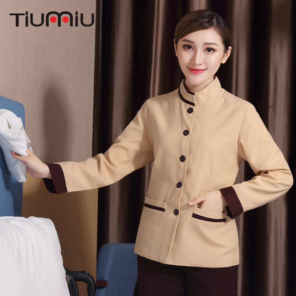 L-4XL Hotel Cleaning Workwear Uniform Long Sleeve Stripe Collar Housekeeping Cleaning Service Women Drop Ship Waiter Work Jacket
