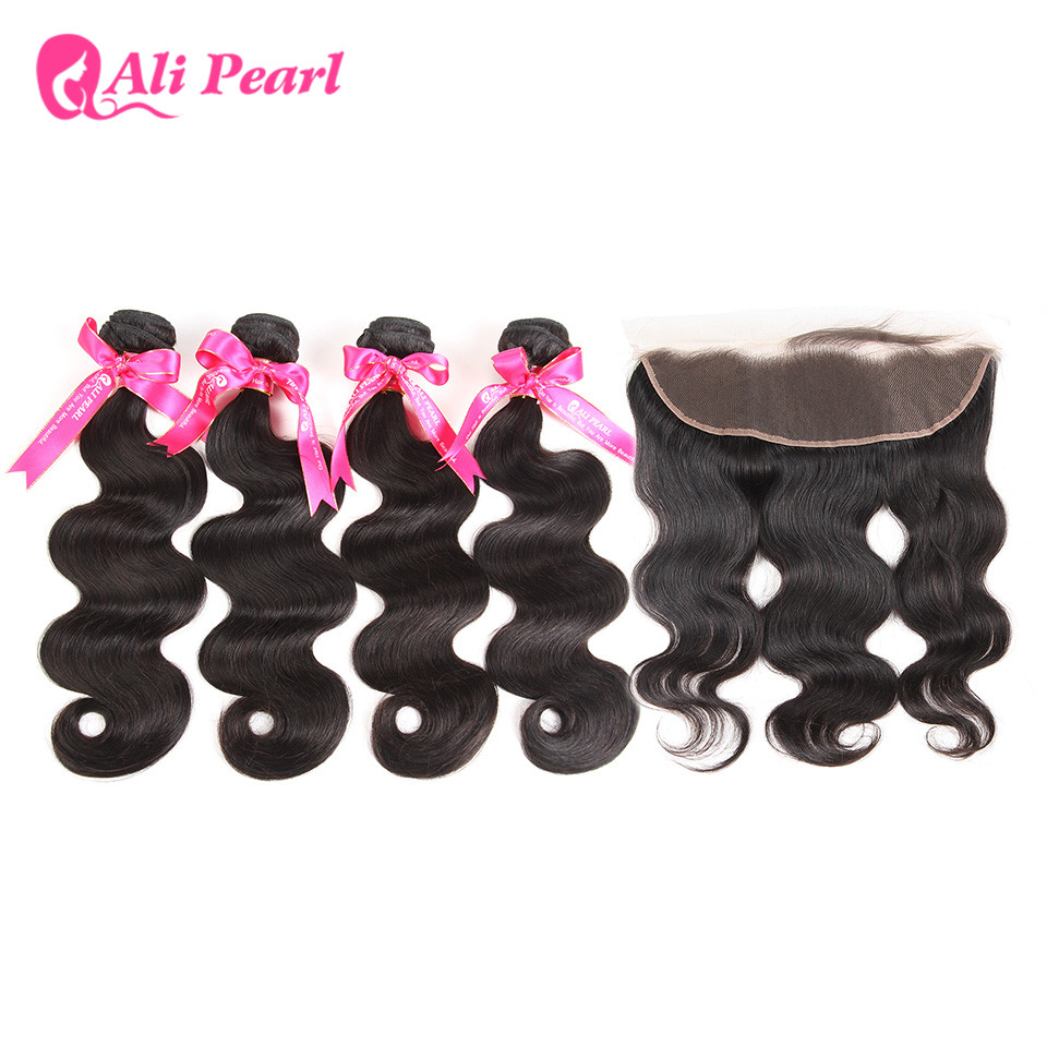 Hair Extensions & Wigs 3/4 Bundles With Closure Enthusiastic Alipearl Brazilian Body Wave 4 Bundles With Frontal Closure Human Hair 13x4 Ear To Ear Lace Frontal Closure With Bundles Remy Refreshing And Enriching The Saliva