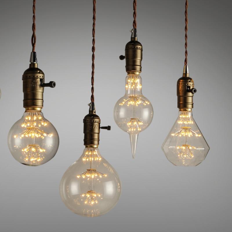 3W Filament Ampoule Vintage Light Bulb E27 220V Old Incandescent Retro Lamp Glass metal G125 ST64 G80 A19 G95