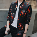 LensTid Men Casual Spring Summer Stand Collar Thin Jacket Russian Style Fashion Mens Tweed Printed Jacket Coats #7703