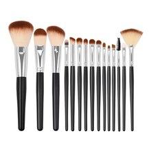 Professional Makeup Brush Set 15pcs Soft Vegan Synthetic Brushes Kit for Powder Foundation Blush Eyeshadow Liner Brow Lip Gloss все цены