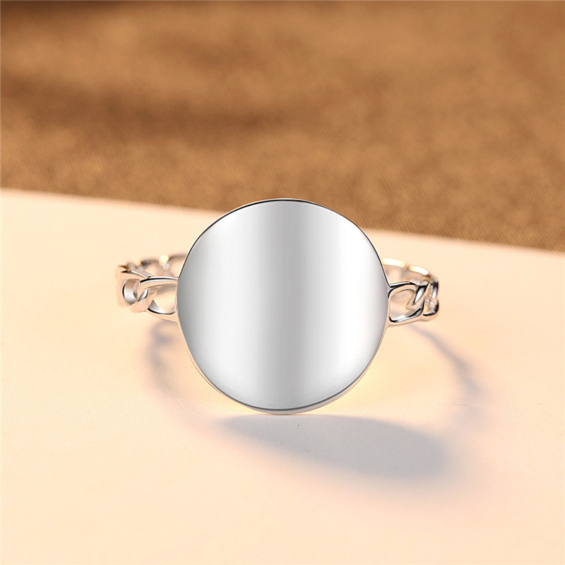 Fashion Simple Round Engagement Finger Rings For Women Anel Female 925 Sterling Silver Geometric Round Ring Birthday Gift Bijoux in Rings from Jewelry Accessories