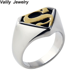 Valily Jewelry Gold-color Men Ring Fashion Cool Punk Motor Biker Superman Rings Stainless steel Batman Band Christmas party gift