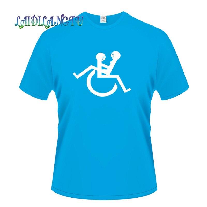 Cotton T shirt Print font b Wheelchair b font font b disability b font Men Classical