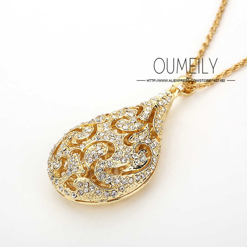 OUMEILY Pendant Imitation Crystal Necklace Earrings Accessories African Beads Jewelry Sets For Women Wedding Gold Color Holiday