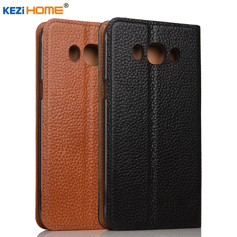 Galleria fotografica Case for Samsung Galaxy J5 2016 KEZiHOME Litchi Genuine Leather Flip Stand Leather Cover capa For Samsung J5 2016 Phone cases