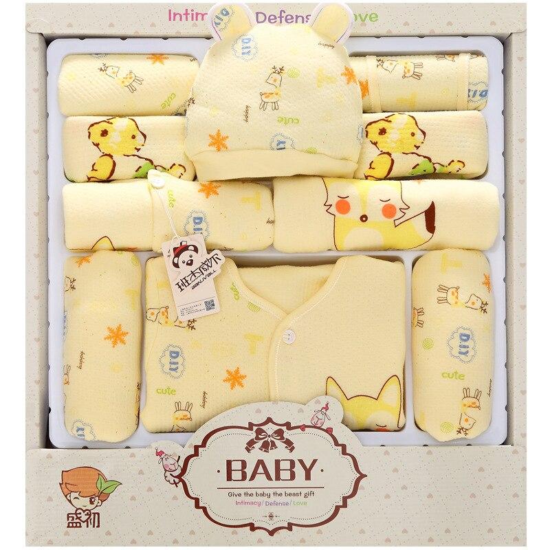 13 шт.; одежда для малышей; весенняя одежда для новорожденных мальчиков; милая Одежда для новорожденных девочек с изображением лисы; хлопкова