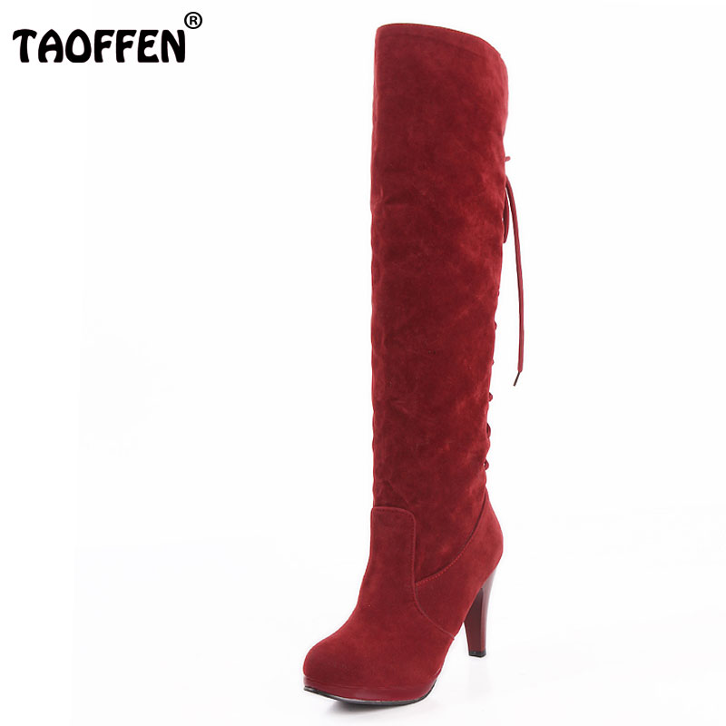 TAOFFEN Size 32 48 Women High Heel Over Knee Boots Ladies Riding Long Snow Boot Warm