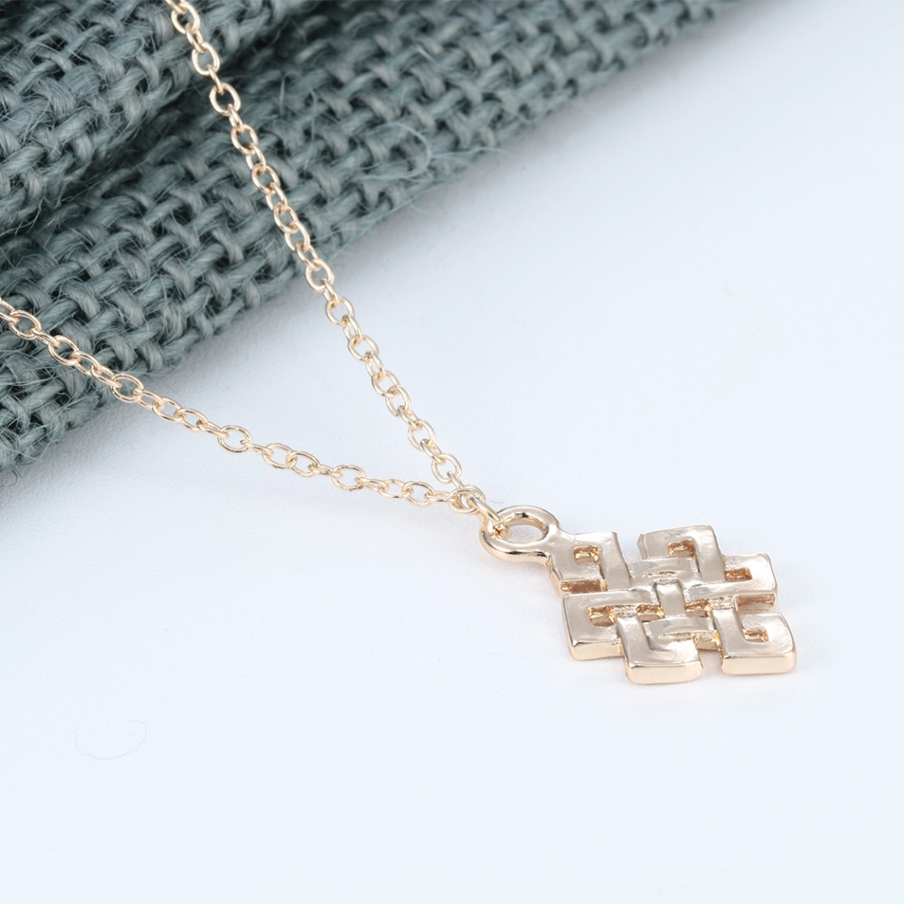 Metal Color: Silver Plated Gabcus Fashion Alloy Jewelry Endless Knot Pendant Necklace Buddhist Infinity Collier Eternity Eternal Bib Link Chain Chokers Torque