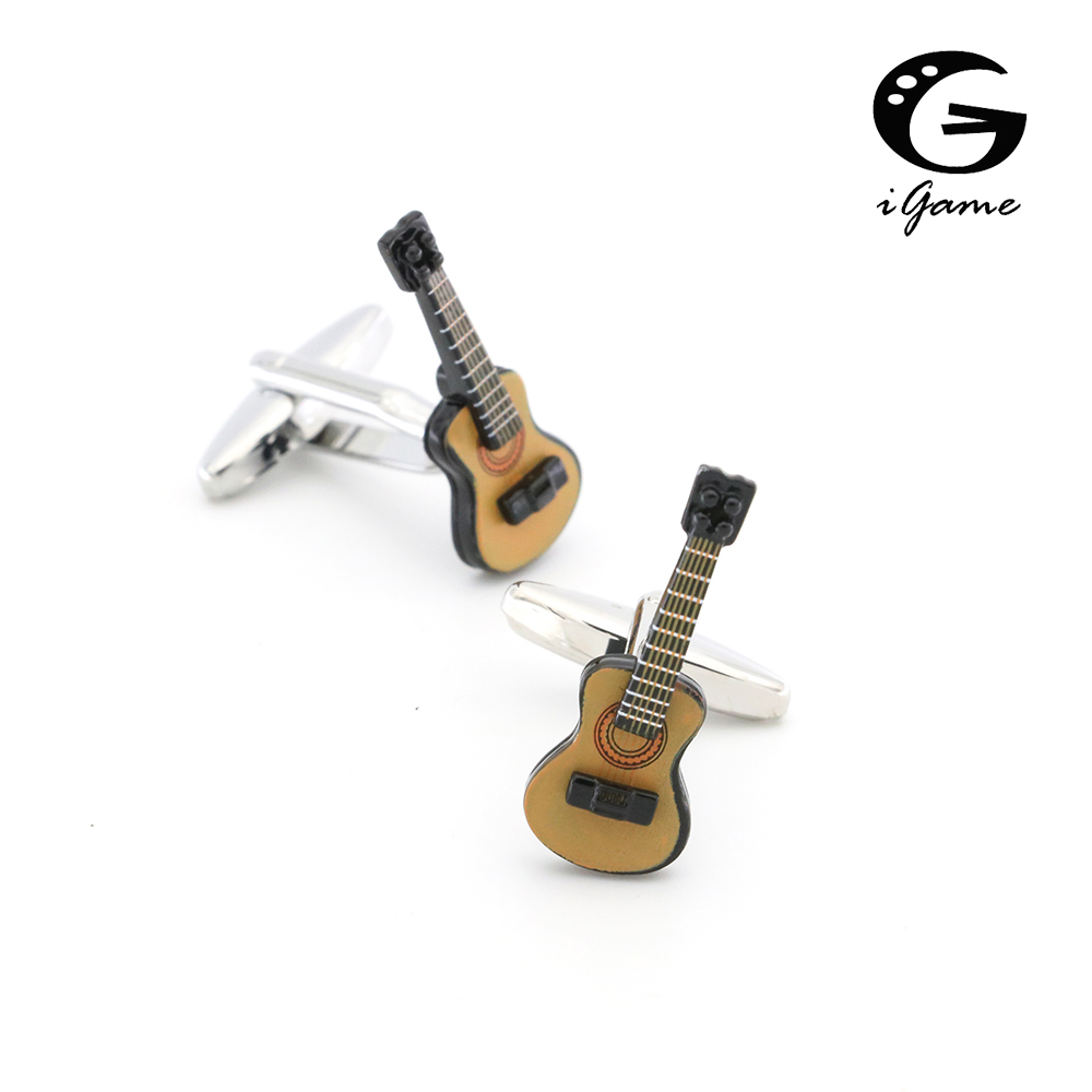 IGame Guitar Cuff Links Coffee Painting Cute Musical Instruments Design Quality Brass Shirt Cuflinks For Men Free Shipping