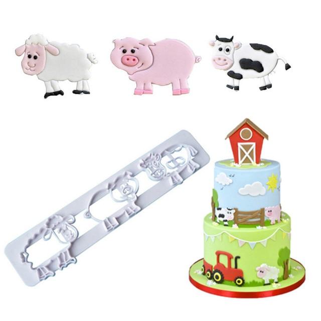 Cute Farm Animal Pig Cow Sheep Image Fondant Molds Cutters Sugar