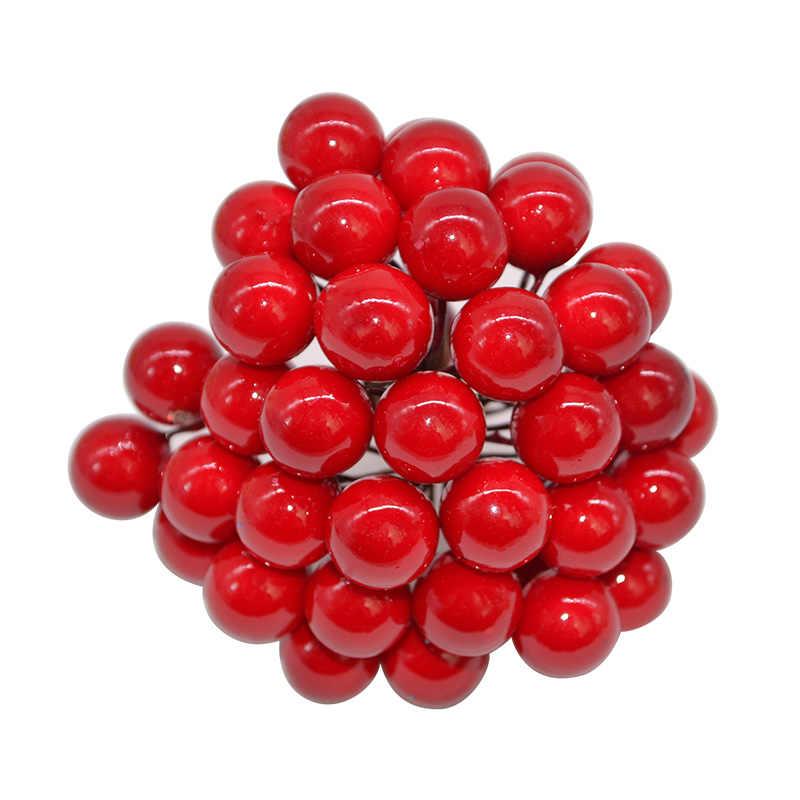 50 Buah/Lot Mini Buatan Bunga Buah Benang Sari Mutiara Plastik Cherry Berry untuk Pohon Natal Diy Hadiah Kotak Dihiasi Karangan Bunga