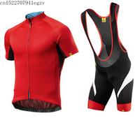 2019 Mavic Men's Red Cycling Jerseys Set Summer Cycling Short Sleeve Jerseys Short Breathable Breathable Quick Dry Cycling 16D